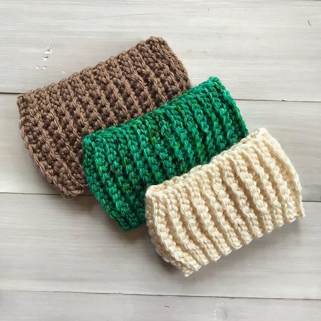 3 earwarmers pictured flat overlapping each other