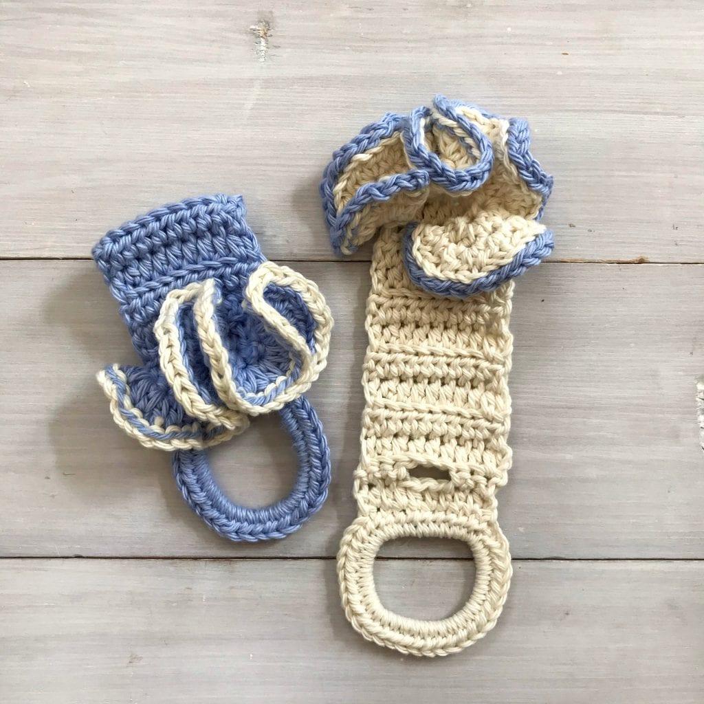 2 crochet towel holders