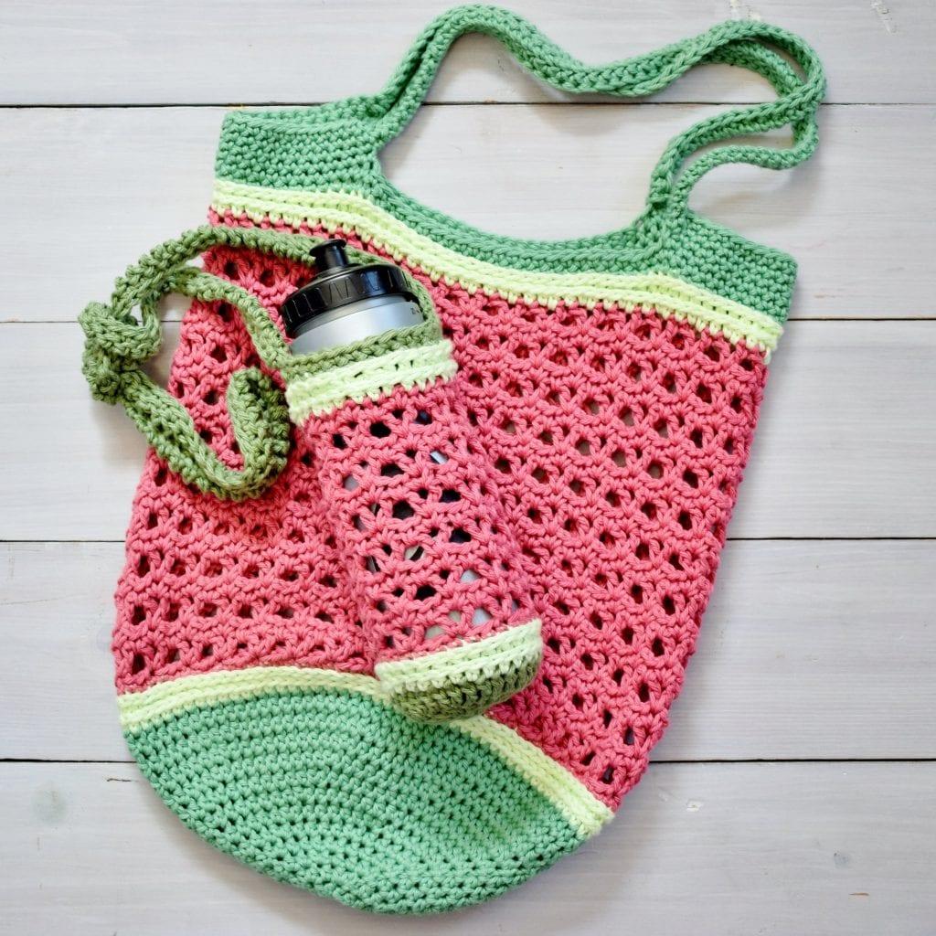 crochet bag and bottle sling flat lay