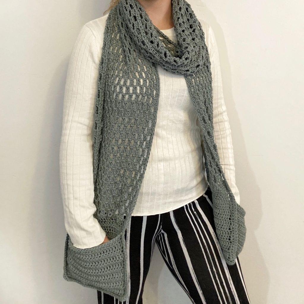 gray crochet pocket scarf