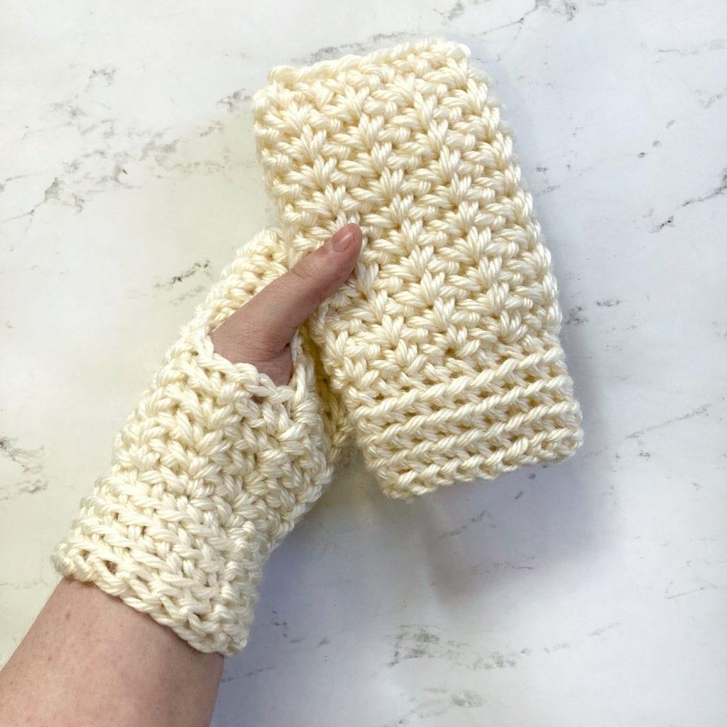 cream crochet fingerless gloves