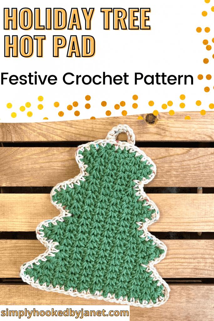 crochet tree hot pad pin image