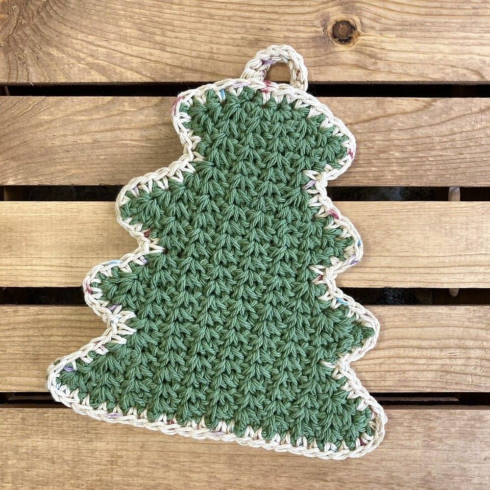 crochet tree hot pad