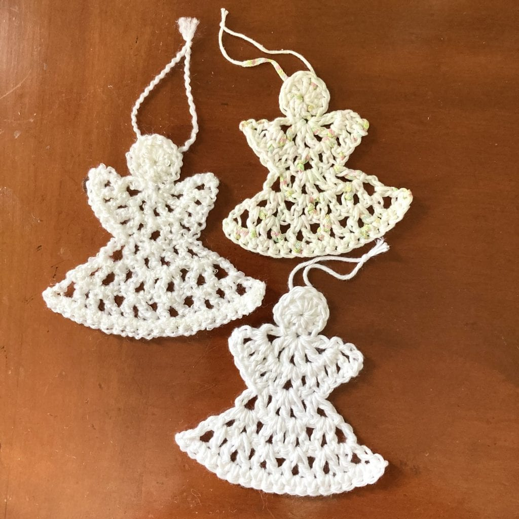 3 crochet angel ornaments