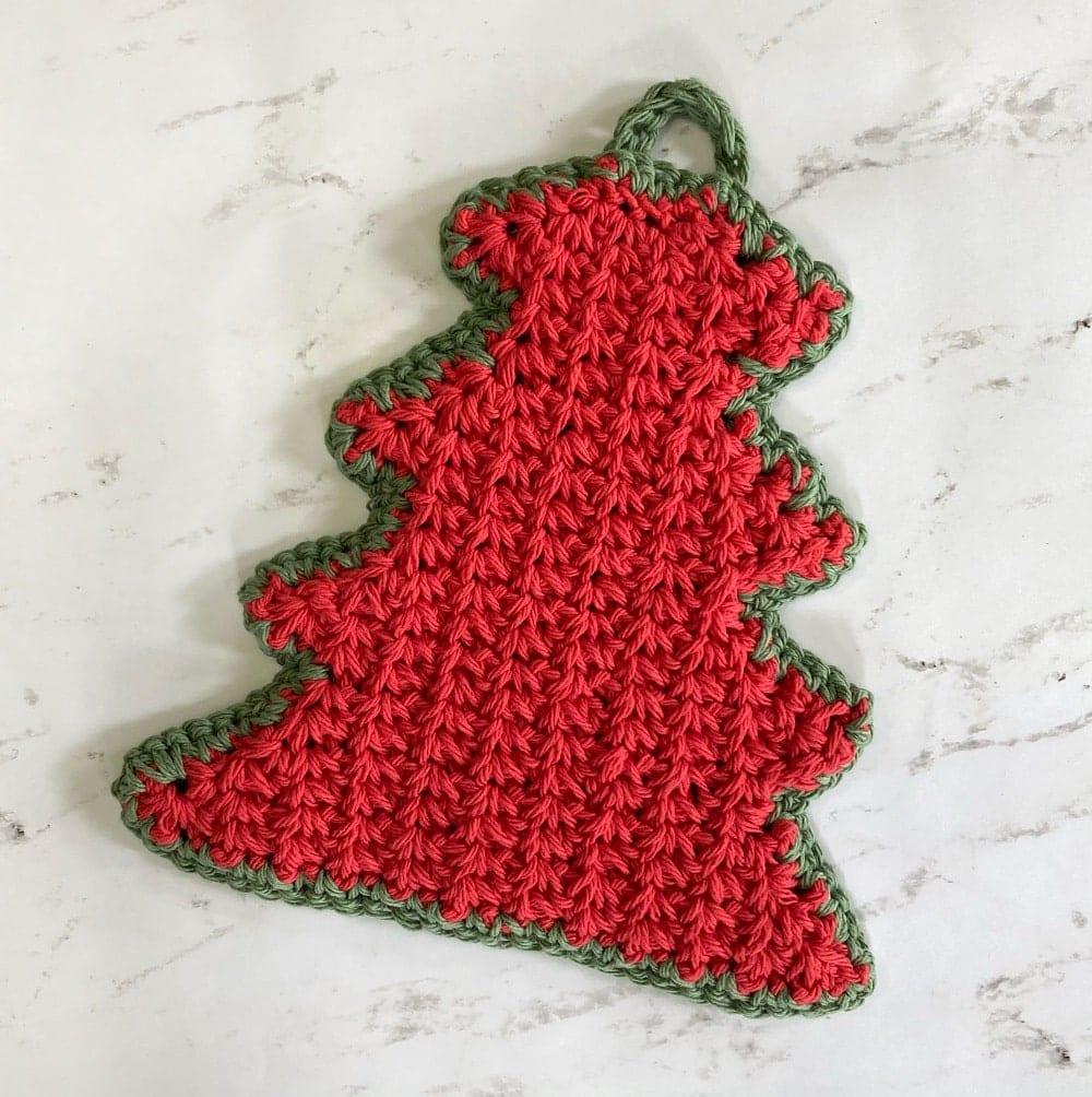 red & green crochet tree hot pad