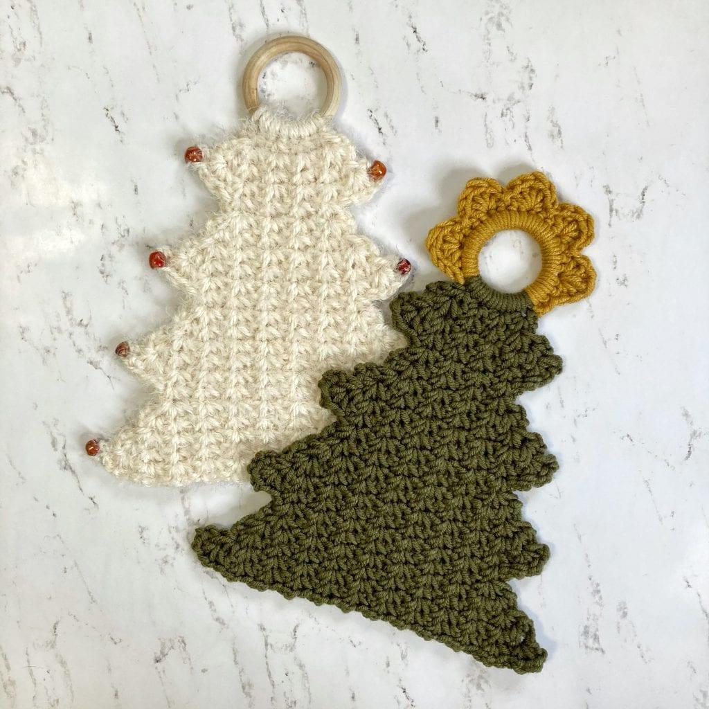 white & green crochet trees