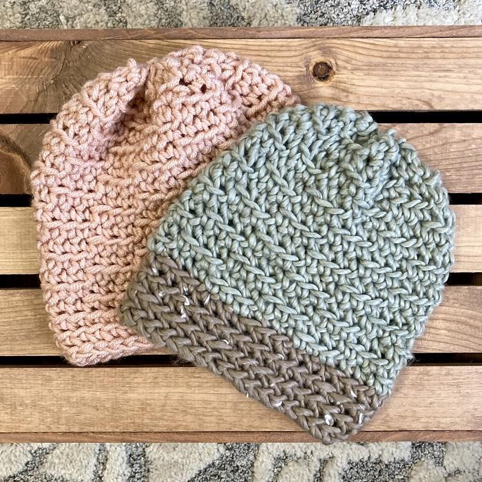 2 crochet hats flat