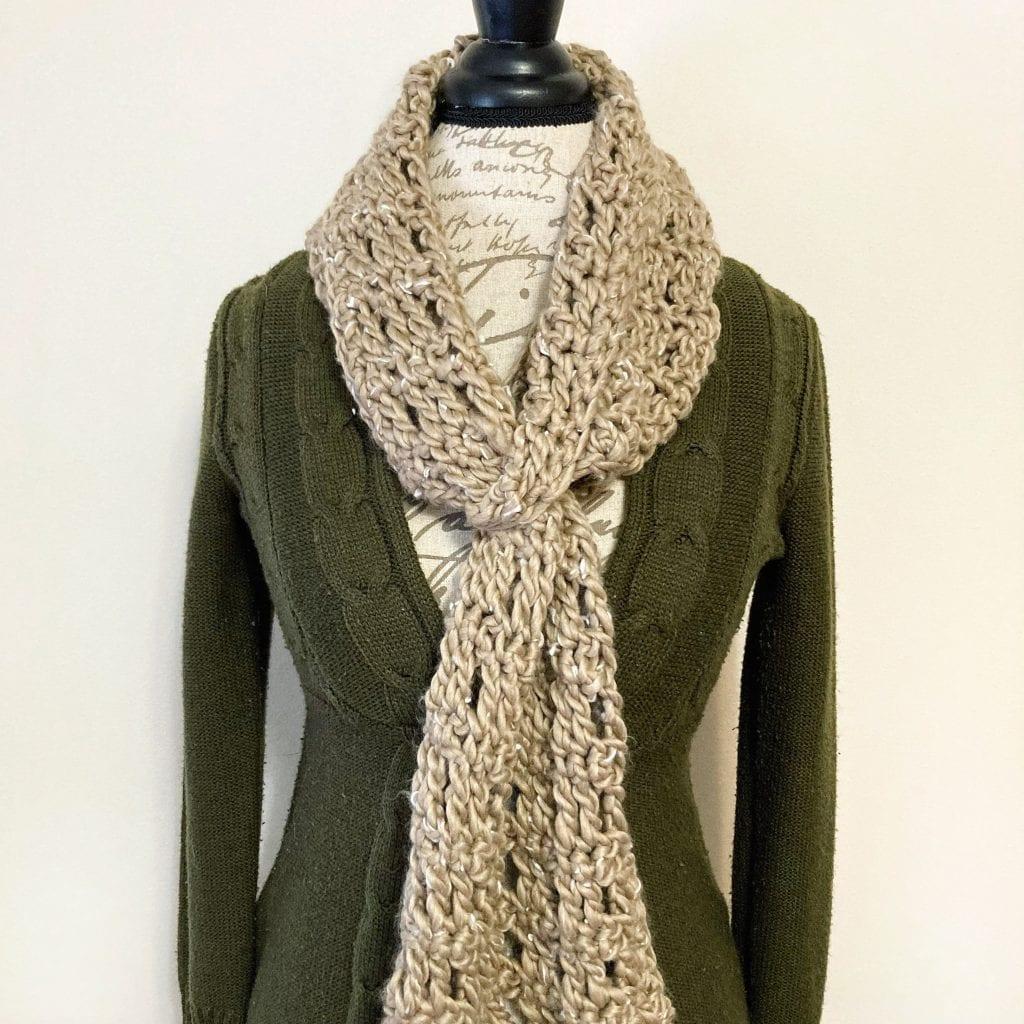 tan crochet keyhole scarf