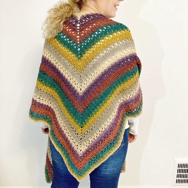 back view of crochet poncho