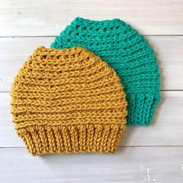 2 crochet messy bun hats