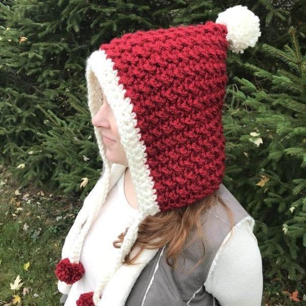 red winter hood modeled