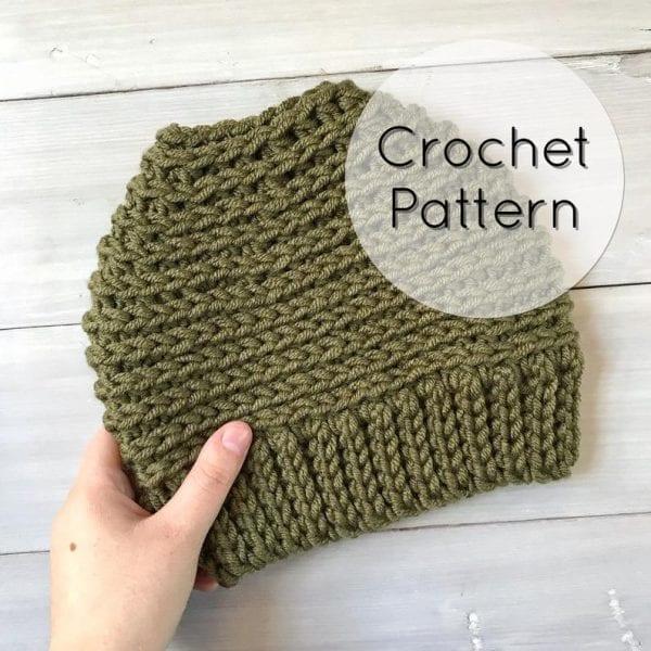 army green crochet bun hat