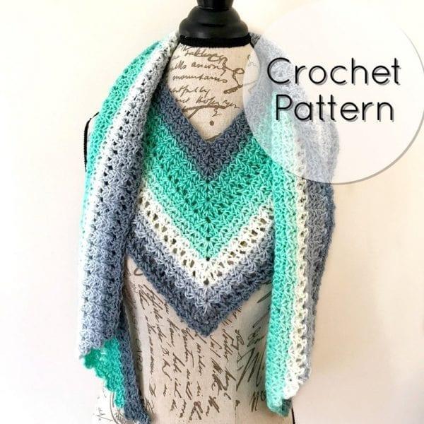 Crochet V Scarf Teal & Gray