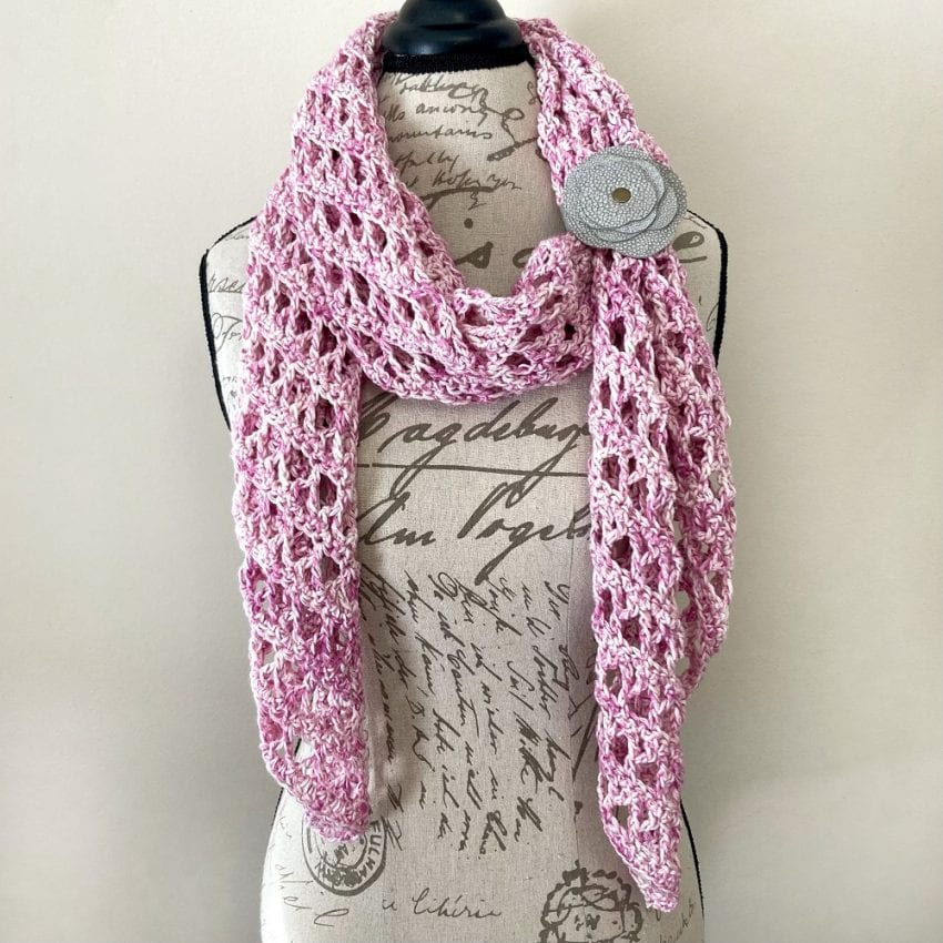 pink airy crochet scarf