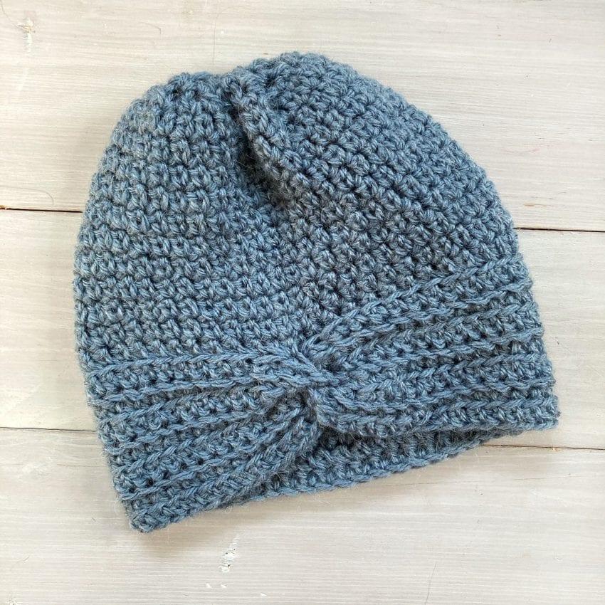 turban style blue crochet hat