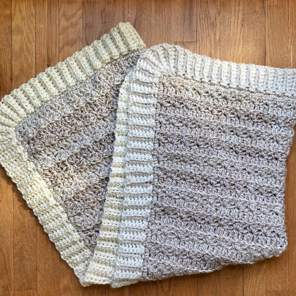 folded chunky crochet blanket