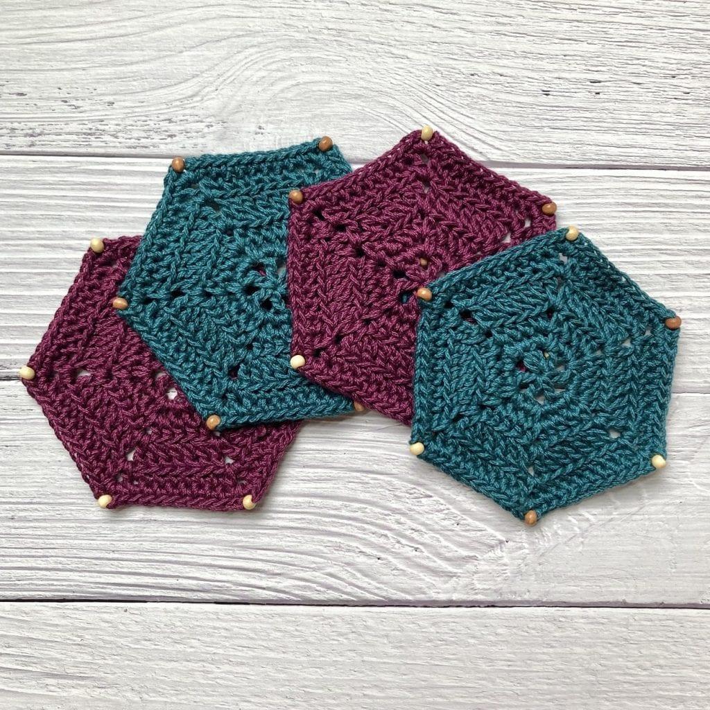 4 hexagon crochet coasters