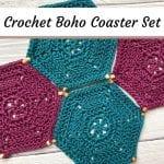 4 crochet boho hexagon coasters
