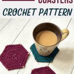crochet hexagon coasters with coffee mug