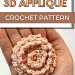 crochet 3d round applique pin