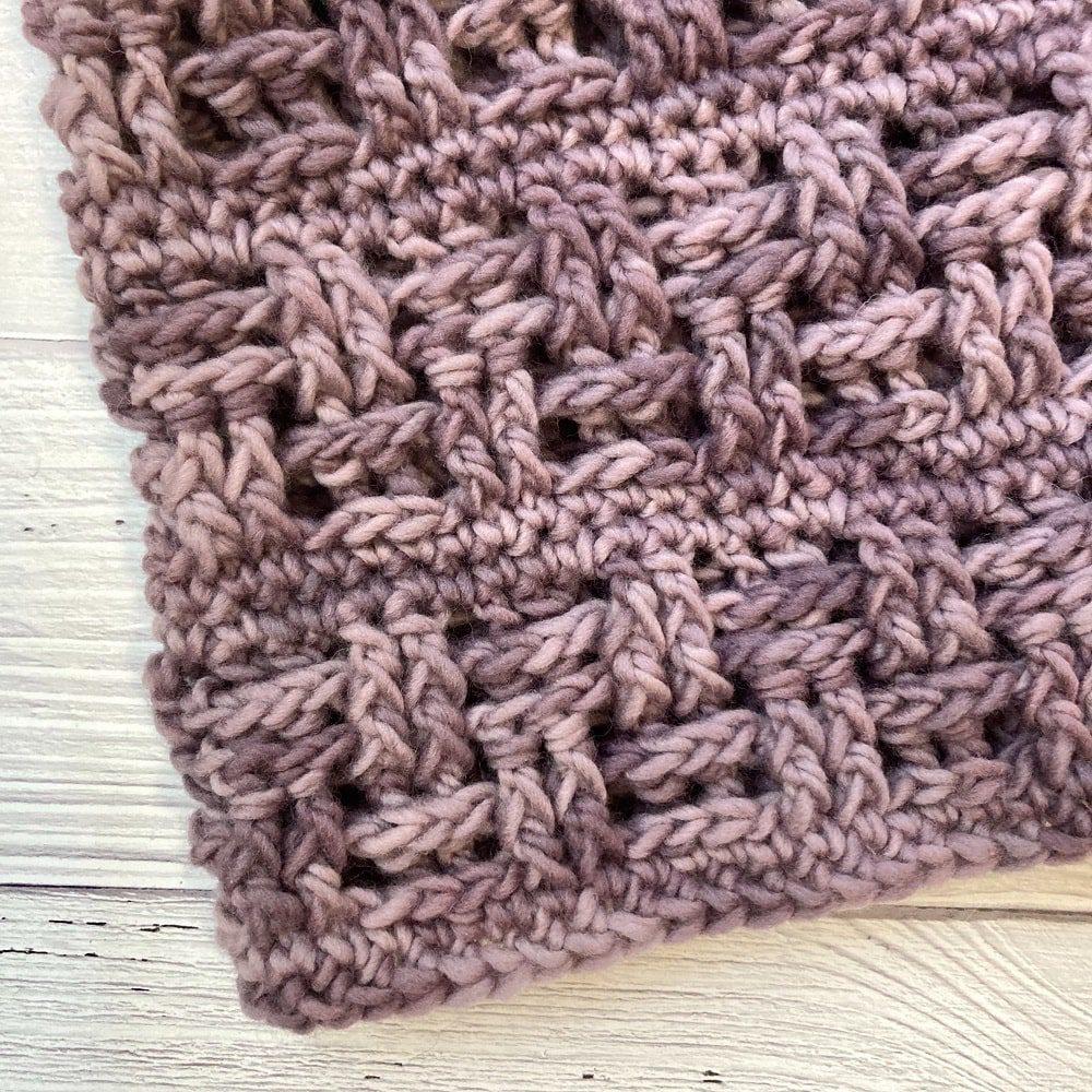 crochet basketweave cowl