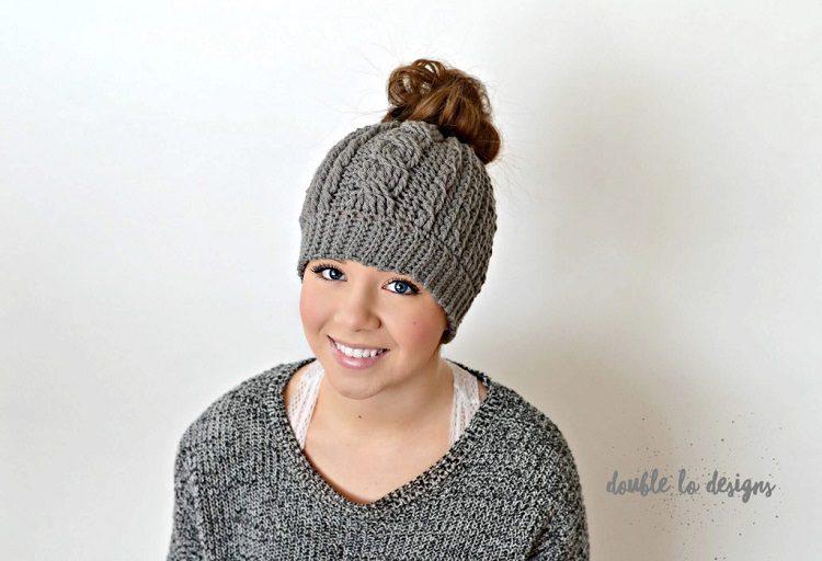 cables crochet messy bun beanie