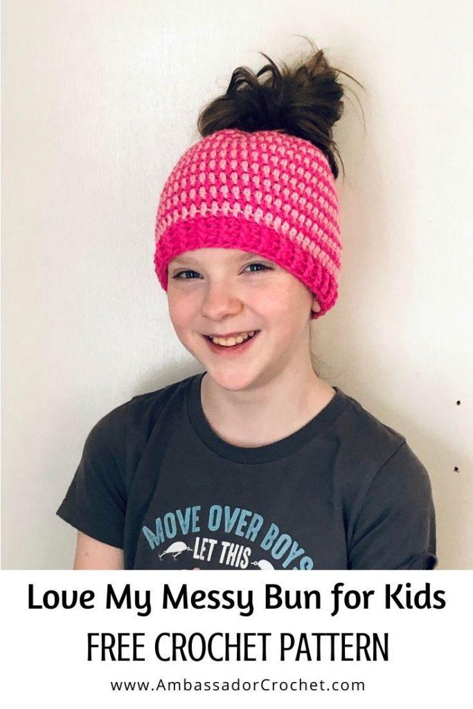 child messy bun hat