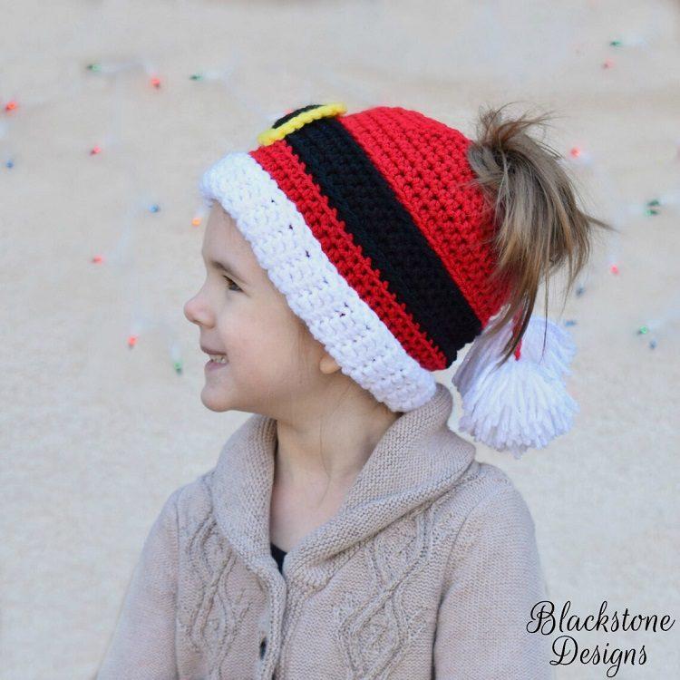santa crochet messy bun hat