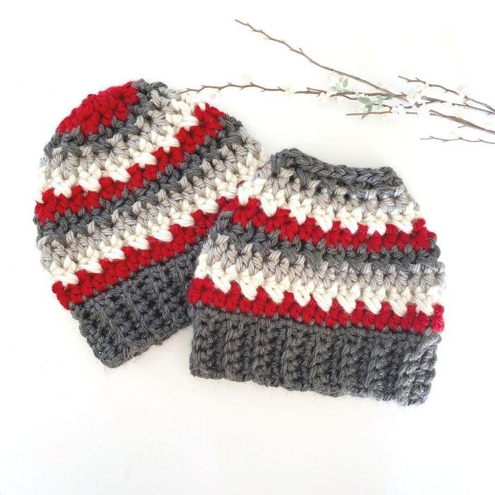 bulky messy bun crochet hat