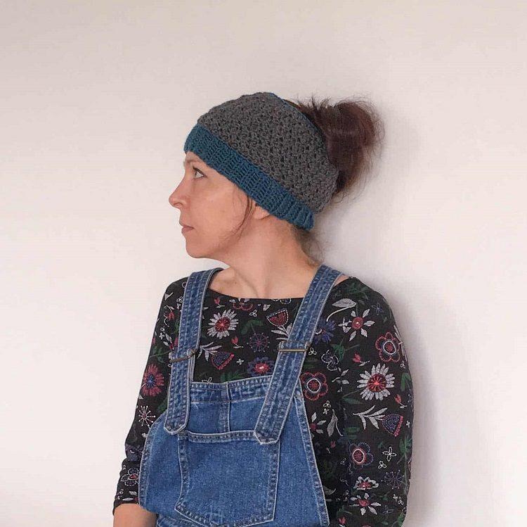 gray crochet ponytail hat