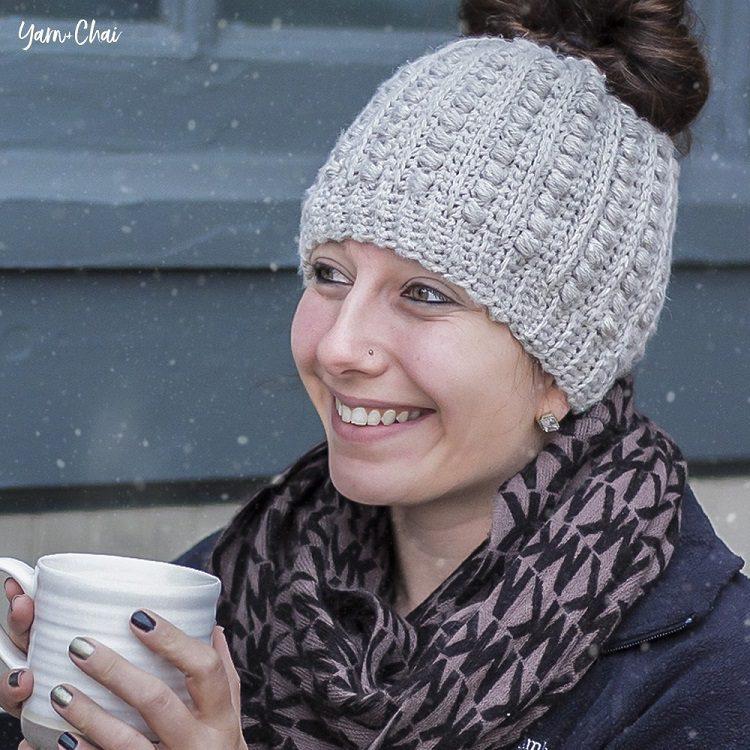 textured crochet bun hat