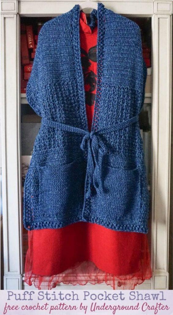 crochet puff stitch pocket shawl