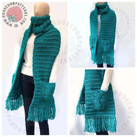 chunky crochet pocket scarf