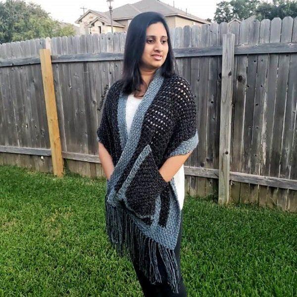 tunisian crochet pocket shawl