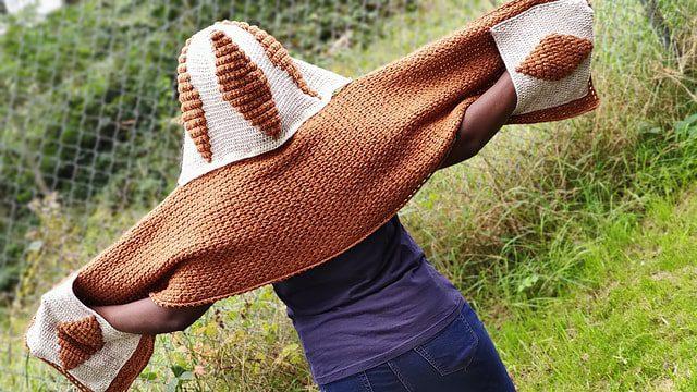 hooded crochet pocket shawl