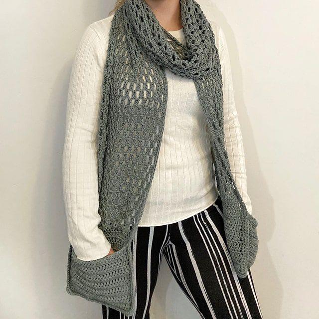 lace crochet pocket scarf